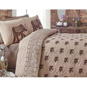 Set cuvertura matlasata Double Elephant Brown