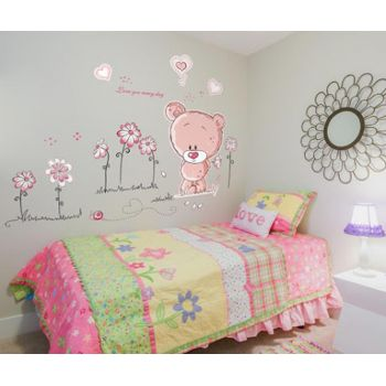 Sticker Pink Teddy Bear
