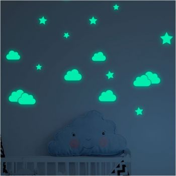 Set autocolante fosforescente de perete Ambiance Clouds and Stars