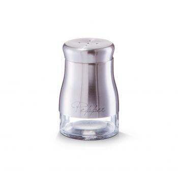 Pipernita din sticla si inox Pepper, Silver 150 ml, Ø 6xH9,5 cm