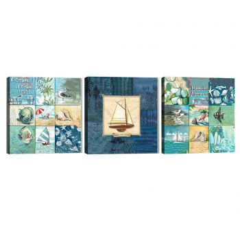 Set 3 tablouri Ocean Front 30x30 cm