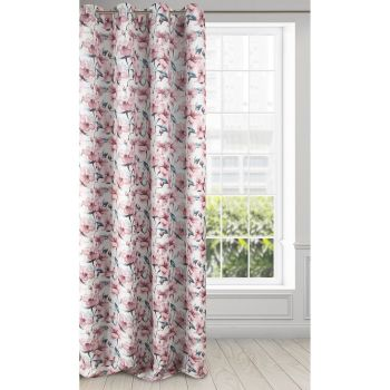 Draperie Blackout Willow Alb / Roz, 135 x 250 cm, 1 bucata