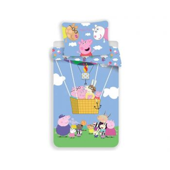 Set de pat Single Ranforce Peppa Balloon