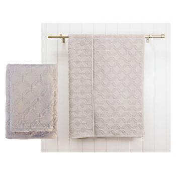 Set 2 prosoape de baie Lattice Grey 48x80 cm
