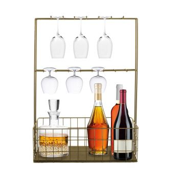 Suport metal sticle si pahare tip minibar-auriu