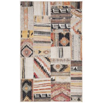 Covor Patchwork Leighton, Taupe/Multicolor, 91x152